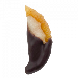 Dried pear dipped in chocolate