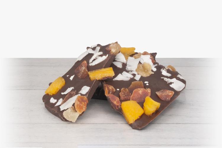 Tropical bark made of 55% cacao chocolate, coconut, mango, papaya & pineapple